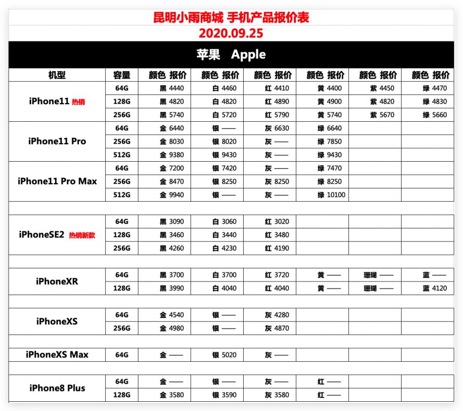 IT007官方店小雨商城9月25日苹果华为荣耀OPPOvivo小米三星手机报价