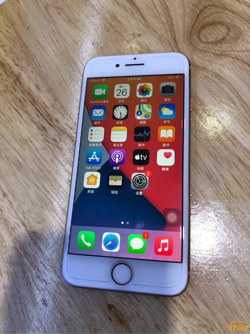 1598!iPhone8/64G国行三网腮红金,98新纯原,爱思全绿