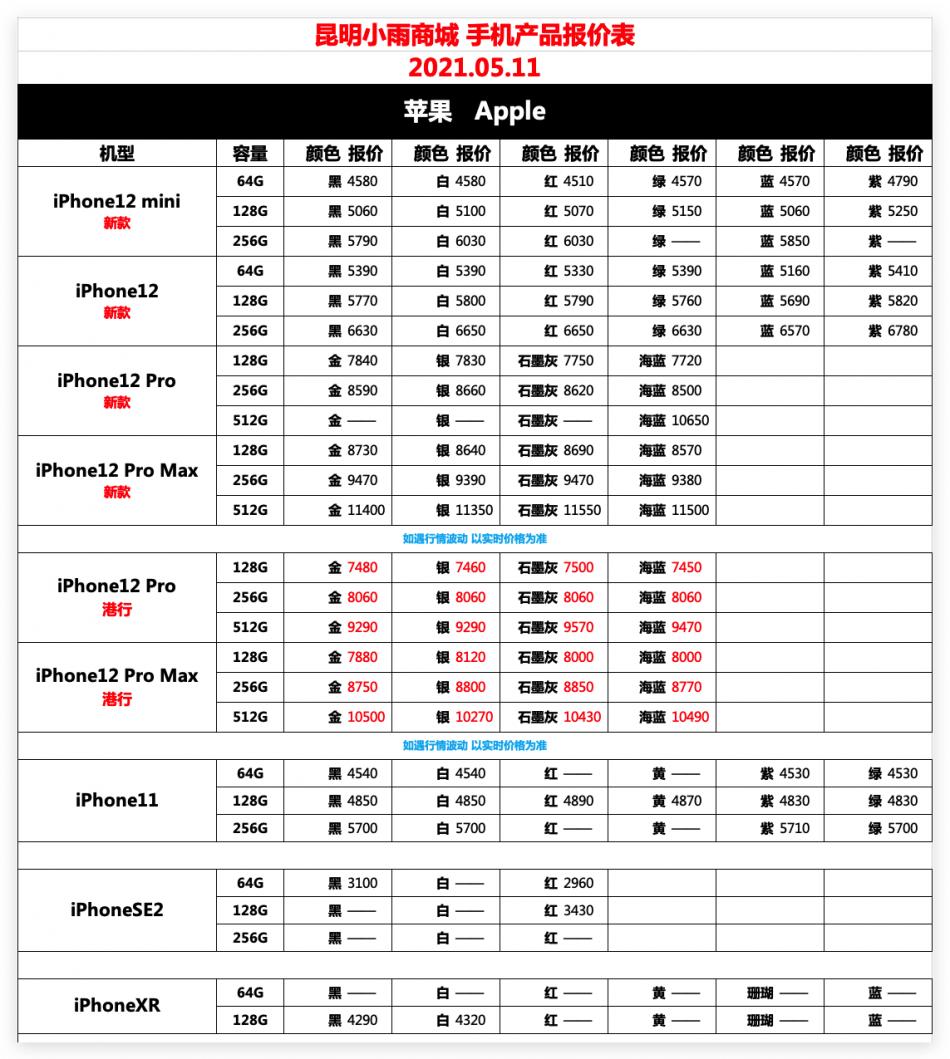 IT007官方店小雨商城5月11日苹果华为荣耀OPPOvivo小米三星手机报价