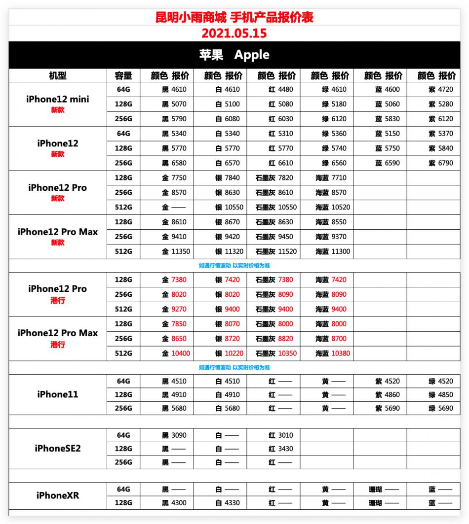IT007官方店小雨商城5月15日苹果华为荣耀OPPOvivo小米三星手机报价