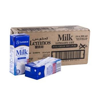 Lemnos 兰诺斯 超高温处理全脂纯牛奶200ML*24支装