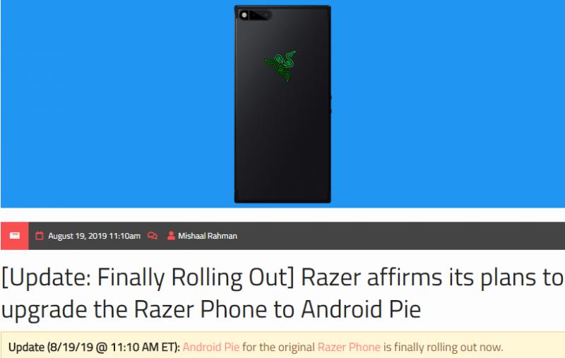 千呼万唤始出来!雷蛇手机第一代正式更新Android9.0