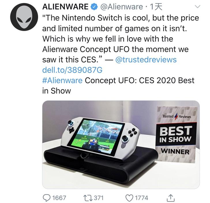 """外星人新掌机获CES 2020大奖,不忘""""diss""""Switch游戏贵又少"""