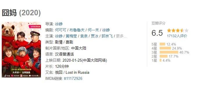 《囧妈》网络免费首播,豆瓣评分6.5