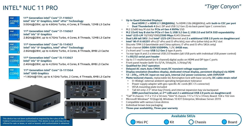 """英特尔 NUC 11 Pro """"老虎峡谷""""曝光:搭载 28W i7-1185G7"""