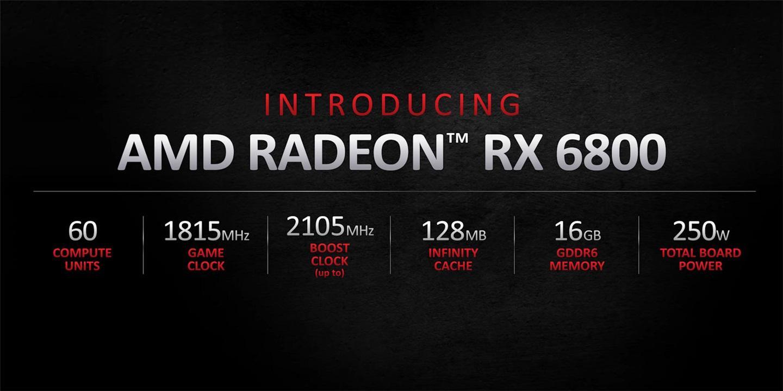 AMD RX 6800 显卡发布:579 美元,超 RTX 2080 Ti