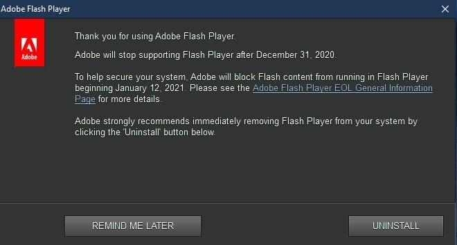 2020 即将结束,Adobe 警告用户即将停止 Flash 支持,微软已经准备将其删除