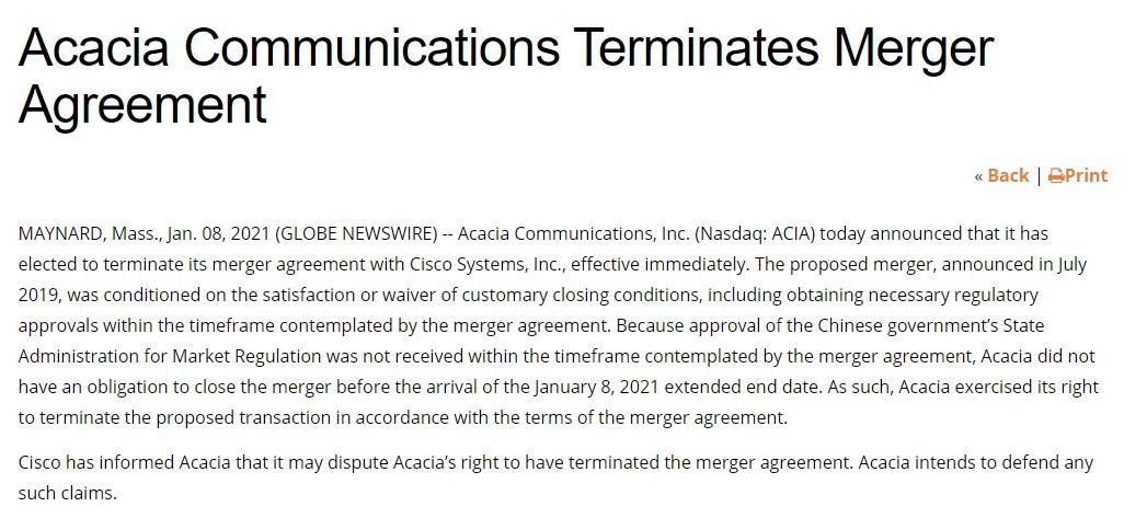 思科 26 亿美元收购硅光子公司 Acacia 生变,买卖双方各执一词