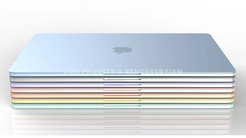 重大设计变更,苹果新一代七彩 MacBook Air 渲染图曝光:白色键盘 + 触控板变小