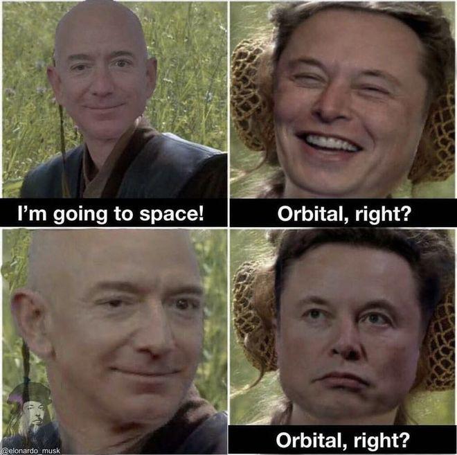马斯克调侃贝索斯太空首飞:进入轨道了吗